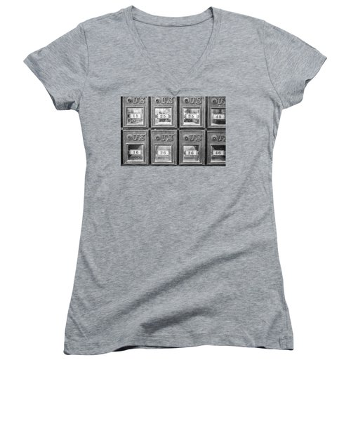 Antique Mailbox Black And White Women's V-Neck (Athletic Fit)