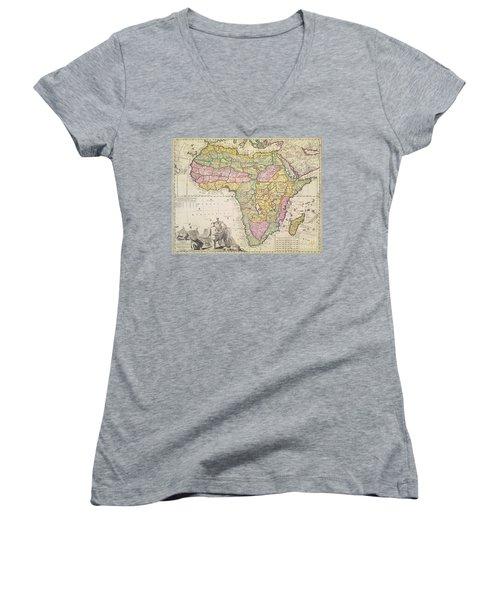 Antique Map Of Africa Women's V-Neck T-Shirt (Junior Cut) by Pieter Schenk