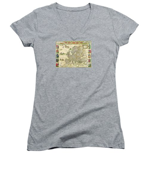 Antique Maps Of The World Map Of Europe Willem Blaeu C 1650 Women's V-Neck (Athletic Fit)