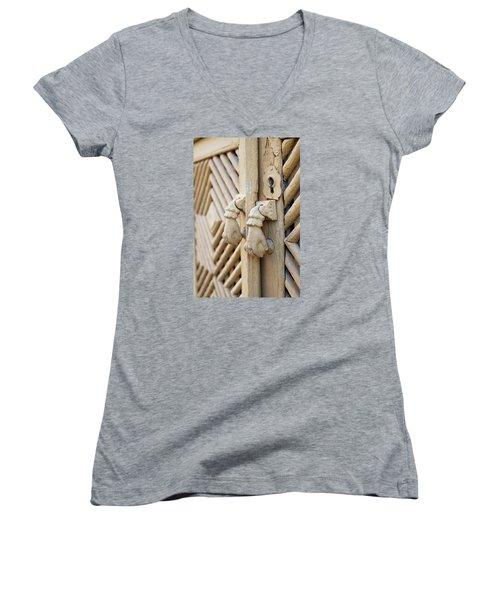 Antique Mediterranean Door-knocker Women's V-Neck T-Shirt (Junior Cut) by Angelo DeVal