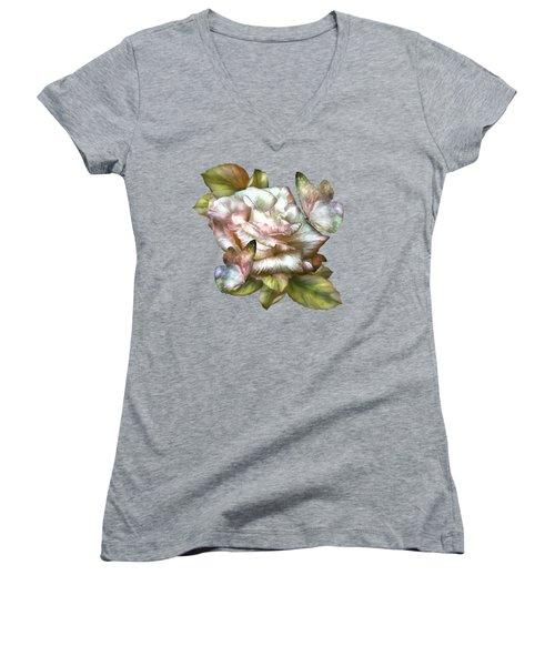 Antique Rose And Butterflies Women's V-Neck T-Shirt (Junior Cut) by Carol Cavalaris