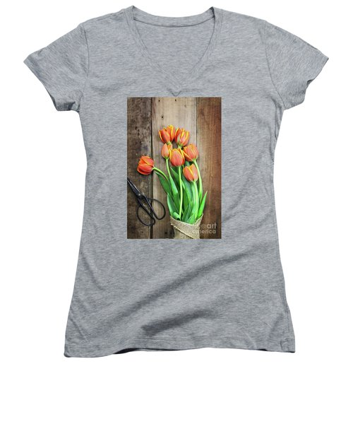 Women's V-Neck T-Shirt (Junior Cut) featuring the photograph Antique Scissors And Bouguet Of Tulips by Stephanie Frey