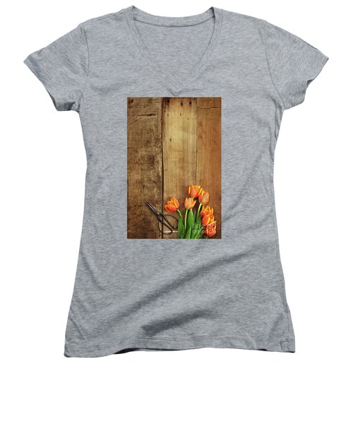 Women's V-Neck T-Shirt (Junior Cut) featuring the photograph Antique Scissors And Tulips by Stephanie Frey