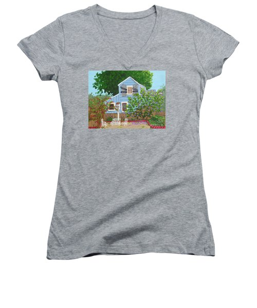 Women's V-Neck T-Shirt (Junior Cut) featuring the painting Antique Shop, Cambria Ca by Katherine Young-Beck