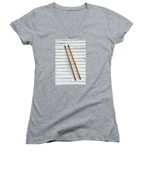 Antique Skis On The Wall Women's V-Neck T-Shirt (Junior Cut) by Gary Slawsky