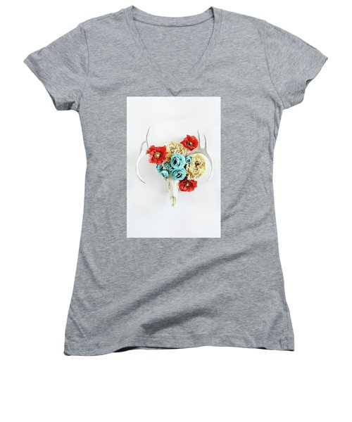 Women's V-Neck T-Shirt (Junior Cut) featuring the photograph Antlers And Florals by Stephanie Frey