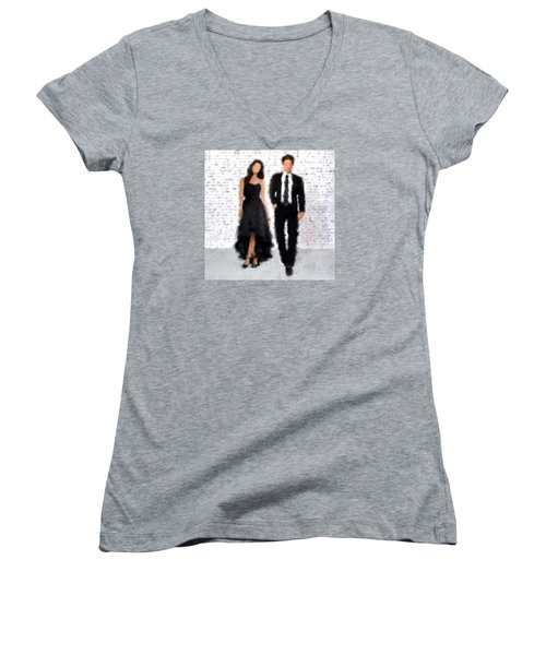 Women's V-Neck T-Shirt (Junior Cut) featuring the digital art Antonia And Giovanni by Nancy Levan