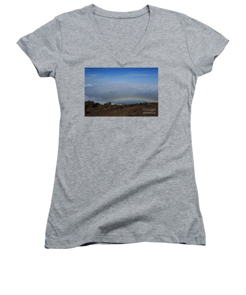 Anuenue - Rainbow At The Ahinahina Ahu Haleakala Sunrise Maui Hawaii Women's V-Neck T-Shirt