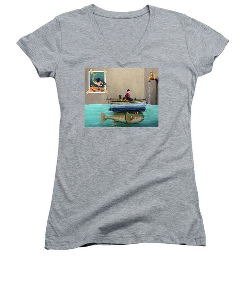 Women's V-Neck T-Shirt (Junior Cut) featuring the painting Anyfin Is Possible - Fisherman Toy Boat And Mermaid Still Life Painting by Linda Apple