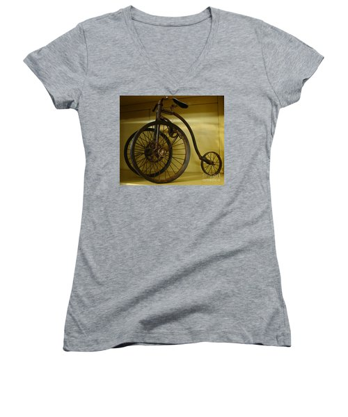 Women's V-Neck T-Shirt (Junior Cut) featuring the painting Anyone For A Bike Ride?  by Rod Jellison