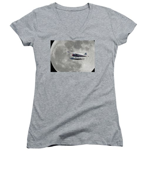Women's V-Neck T-Shirt (Junior Cut) featuring the photograph Aop And The Full Moon by Mark Alan Perry