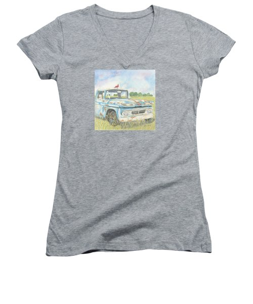 Women's V-Neck T-Shirt (Junior Cut) featuring the drawing Apache Out To Pasture by Arlene Crafton