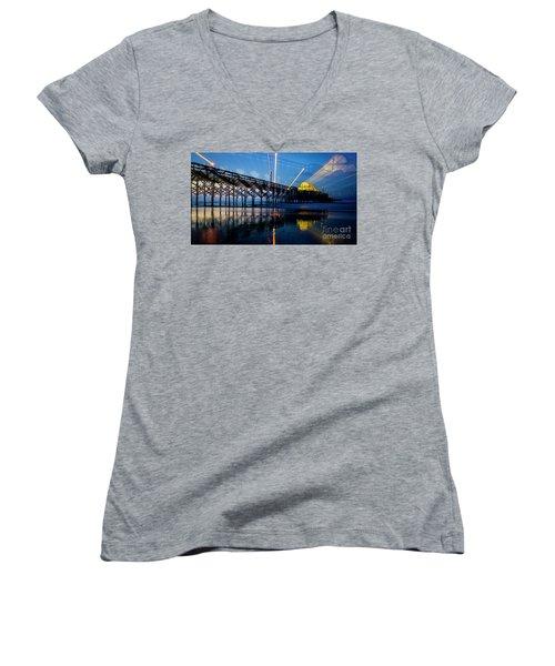 Apache Pier Women's V-Neck T-Shirt (Junior Cut) by David Smith