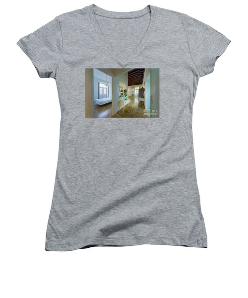 Women's V-Neck T-Shirt featuring the photograph Apartment In The Heart Of Cadiz 17th Century Spain by Pablo Avanzini