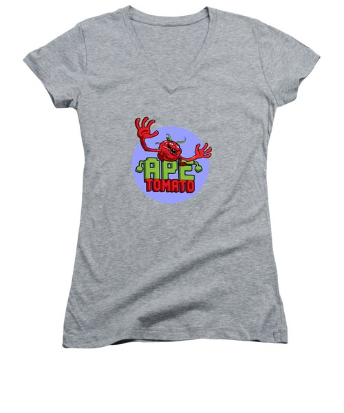 Ape Tomato Blue Purple Women's V-Neck T-Shirt (Junior Cut) by Nicolas Palmer