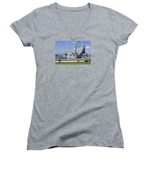 Appalachicola Shrimp Boat Women's V-Neck T-Shirt