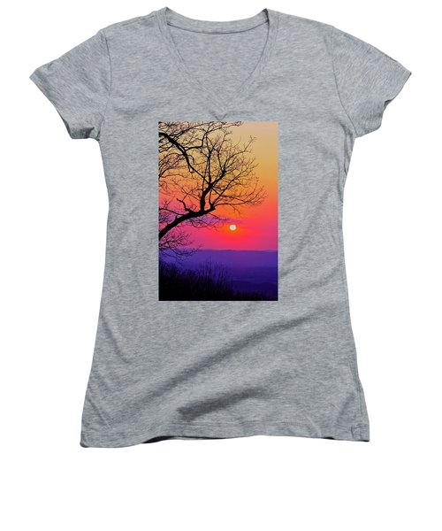 Appalcahian Sunset Tree Silhouette #2 Women's V-Neck