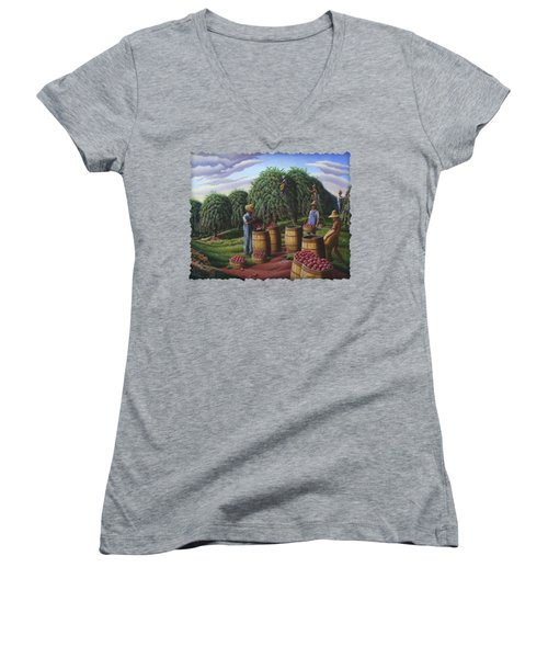 Apple Harvest - Autumn Farmers Orchard Farm Landscape - Folk Art Americana Women's V-Neck T-Shirt (Junior Cut) by Walt Curlee