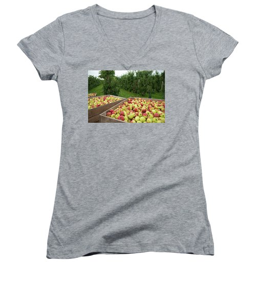 Women's V-Neck T-Shirt (Junior Cut) featuring the photograph Apple Harvest by Hans Engbers