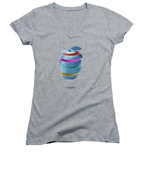 new York  apple Women's V-Neck (Athletic Fit)