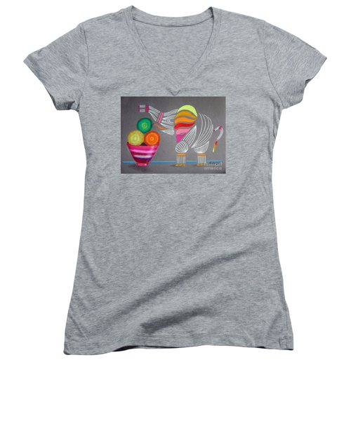 Apples And Oranges And Elephants, Oh My -- Whimsical Still Life W/ Elephant Women's V-Neck (Athletic Fit)