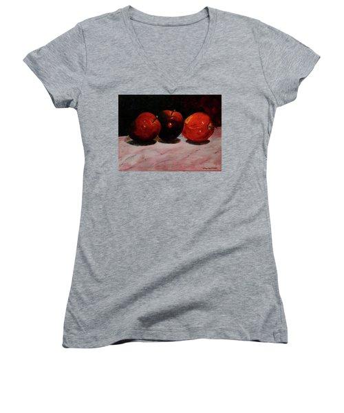 Apples Women's V-Neck (Athletic Fit)