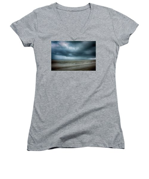 Approaching Storm On Ocracoke Outer Banks Women's V-Neck T-Shirt (Junior Cut) by Dan Carmichael