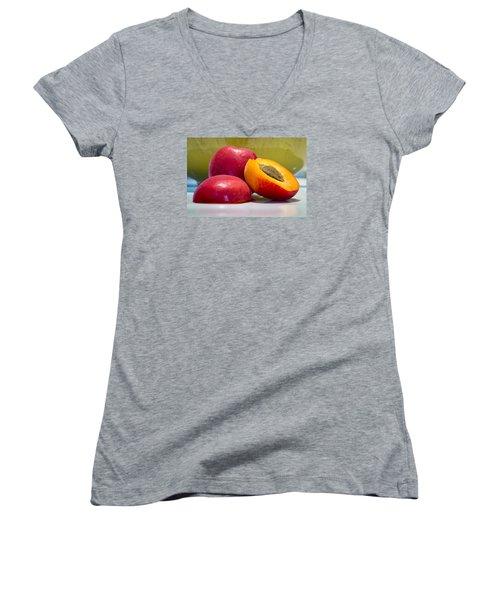 Apricots Women's V-Neck T-Shirt (Junior Cut) by Sabine Edrissi