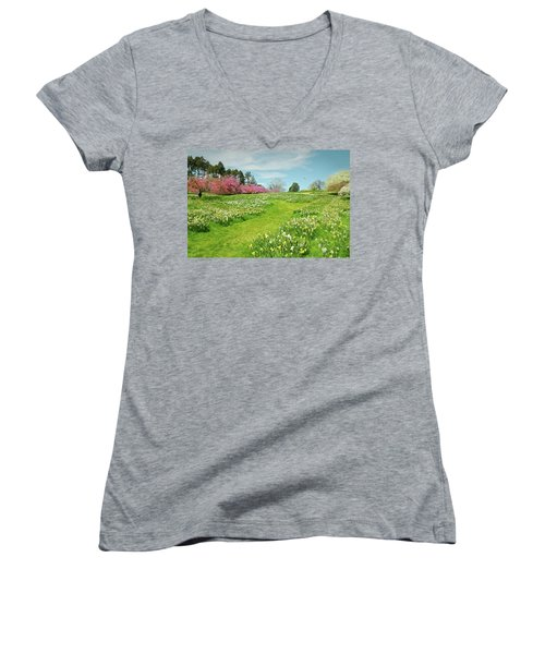 Women's V-Neck T-Shirt (Junior Cut) featuring the photograph April Days by Diana Angstadt