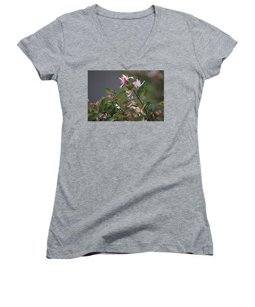 April Showers 7 Women's V-Neck T-Shirt (Junior Cut) by Antonio Romero