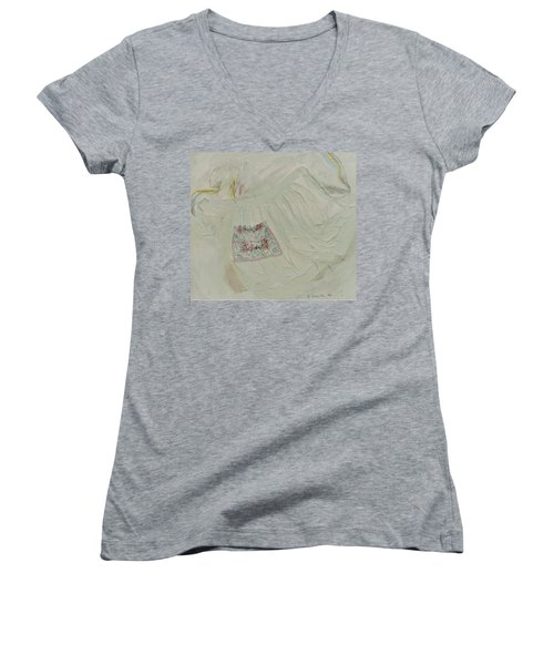 Apron On Canvas - Mixed Media Women's V-Neck T-Shirt