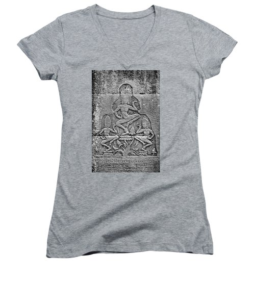 Women's V-Neck T-Shirt (Junior Cut) featuring the photograph Apsaras 3, Angkor, 2014 by Hitendra SINKAR