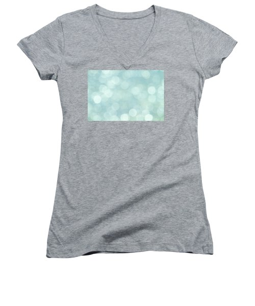Women's V-Neck T-Shirt (Junior Cut) featuring the photograph Aqua Abstract by Peggy Collins