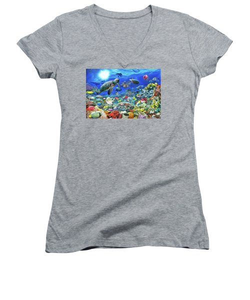 Women's V-Neck featuring the painting Aquarium by Harry Warrick