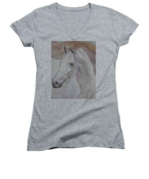 Arab Stallion In The Desert Women's V-Neck T-Shirt