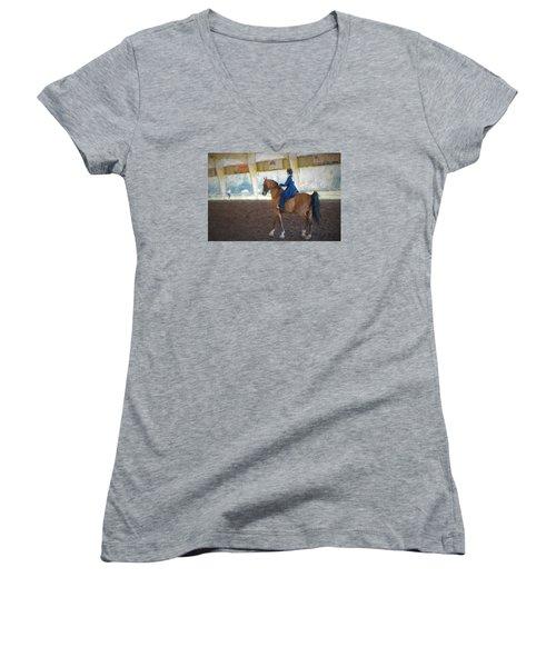 Arabian Dressage Women's V-Neck T-Shirt (Junior Cut) by Louis Ferreira