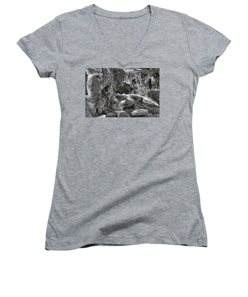 Arboretum Waterfall Bw Women's V-Neck (Athletic Fit)