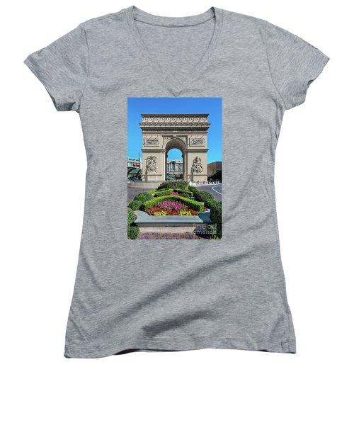 Arc De Triomphe Paris Casino Las Vegas Women's V-Neck (Athletic Fit)
