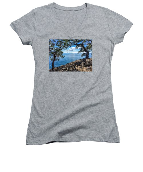 Women's V-Neck T-Shirt (Junior Cut) featuring the photograph Arch Of Trees by William Wyckoff