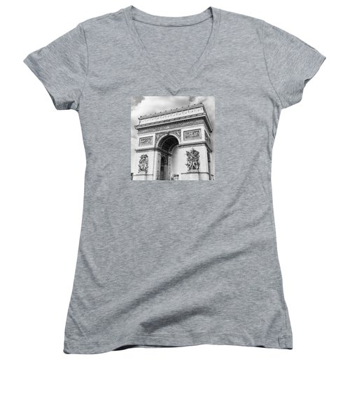 Arch Of Triumph - Paris - Black And White Women's V-Neck T-Shirt