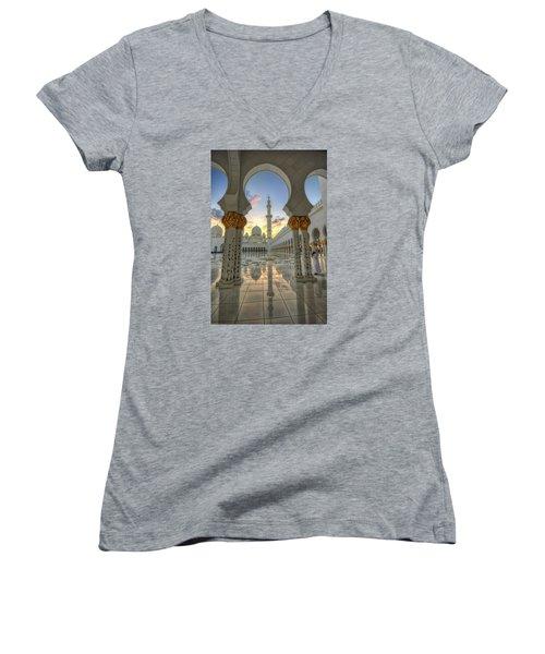 Women's V-Neck T-Shirt (Junior Cut) featuring the photograph Arch Sunset Temple by John Swartz