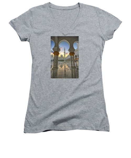 Arch Sunset Temple Women's V-Neck T-Shirt