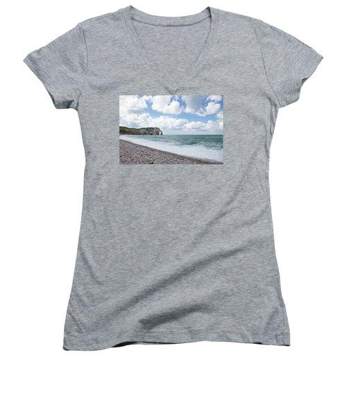 Arch At Etretat Beach, Normandie Women's V-Neck T-Shirt (Junior Cut) by Yoel Koskas