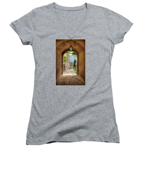 Women's V-Neck T-Shirt (Junior Cut) featuring the photograph Arched View by Uri Baruch