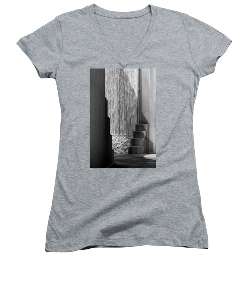 Architectural Waterfall In Black And White Women's V-Neck (Athletic Fit)