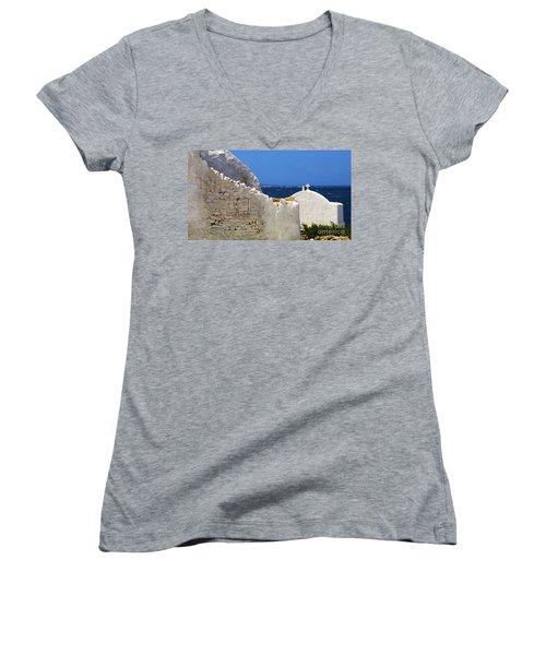 Women's V-Neck T-Shirt (Junior Cut) featuring the photograph Architecture Mykonos Greece 2 by Bob Christopher