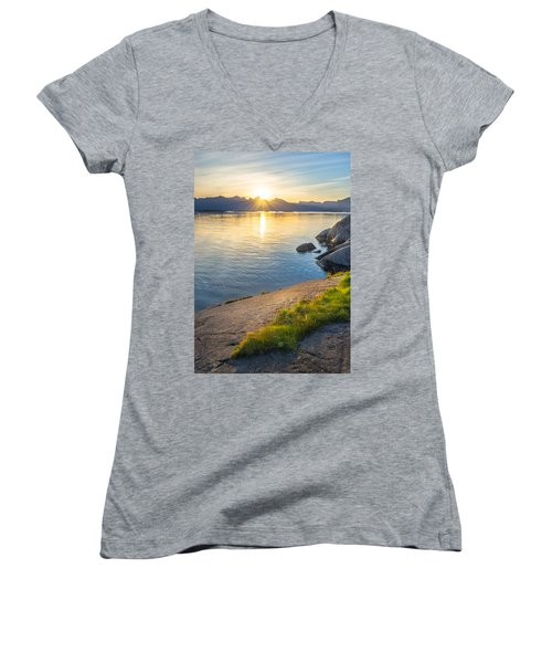Women's V-Neck T-Shirt (Junior Cut) featuring the photograph Arctic Sunrise by Maciej Markiewicz