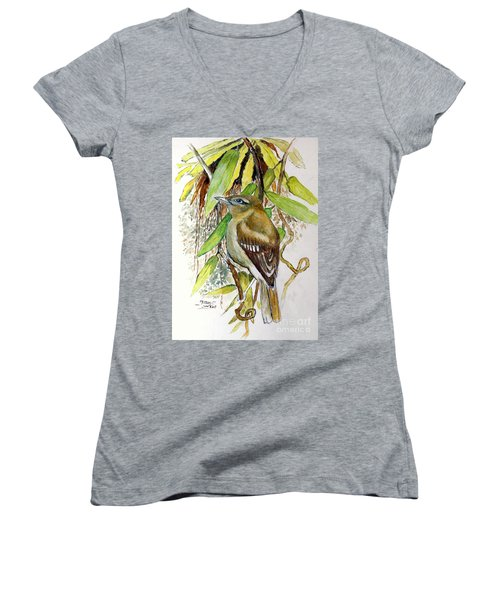 Arctic Warbler Women's V-Neck (Athletic Fit)
