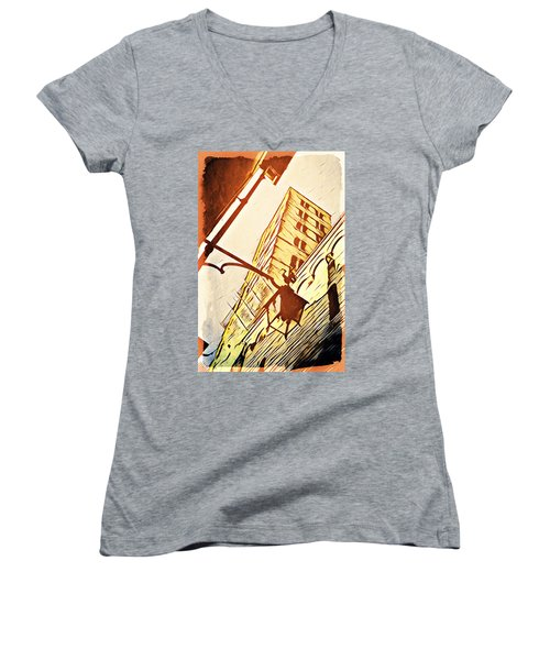 Women's V-Neck T-Shirt (Junior Cut) featuring the digital art Arezzo's Tower by Andrea Barbieri