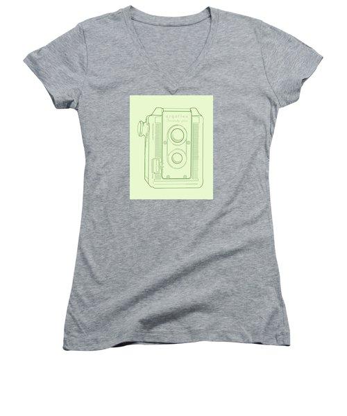 Argoflex Green Women's V-Neck T-Shirt (Junior Cut) by Christina Lihani